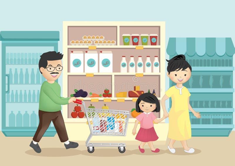 Οικογένεια που ψωνίζει στην υπεραγορά ελεύθερη απεικόνιση δικαιώματος