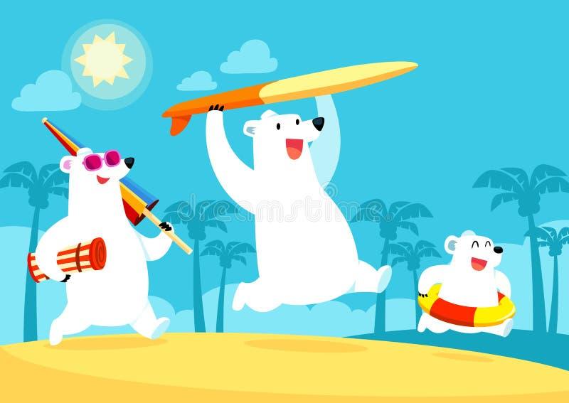 Οικογένεια πολικών αρκουδών στις διακοπές στην παραλία ελεύθερη απεικόνιση δικαιώματος