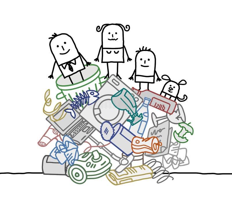 Οικογένεια σε έναν σωρό των απορριμάτων διανυσματική απεικόνιση