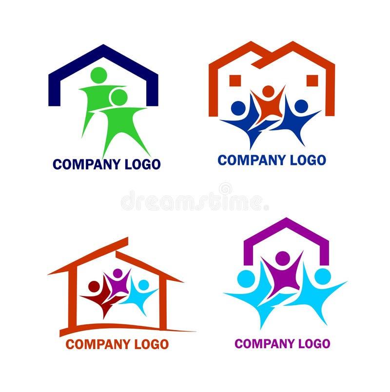 Οικογένεια σε ένα λογότυπο καινούργιων σπιτιών απεικόνιση αποθεμάτων