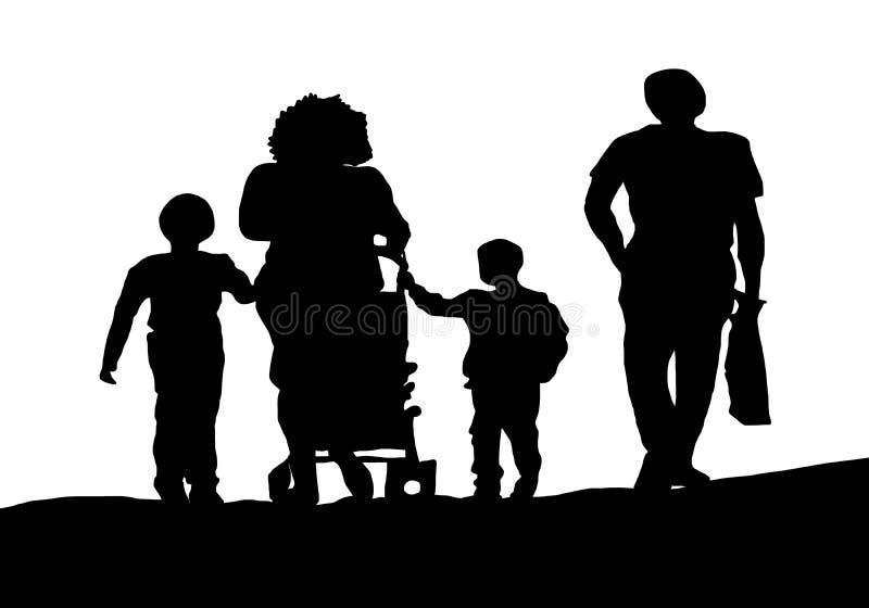 Οικογένεια σκιαγραφιών που περπατά στην οδό διανυσματική απεικόνιση