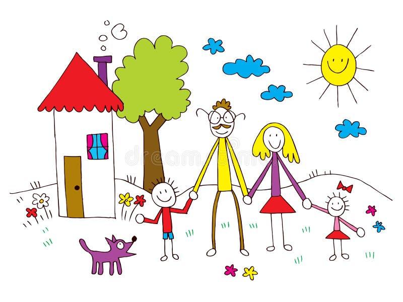 Οικογένεια στα παιδιά που σύρουν το ύφος απεικόνιση αποθεμάτων