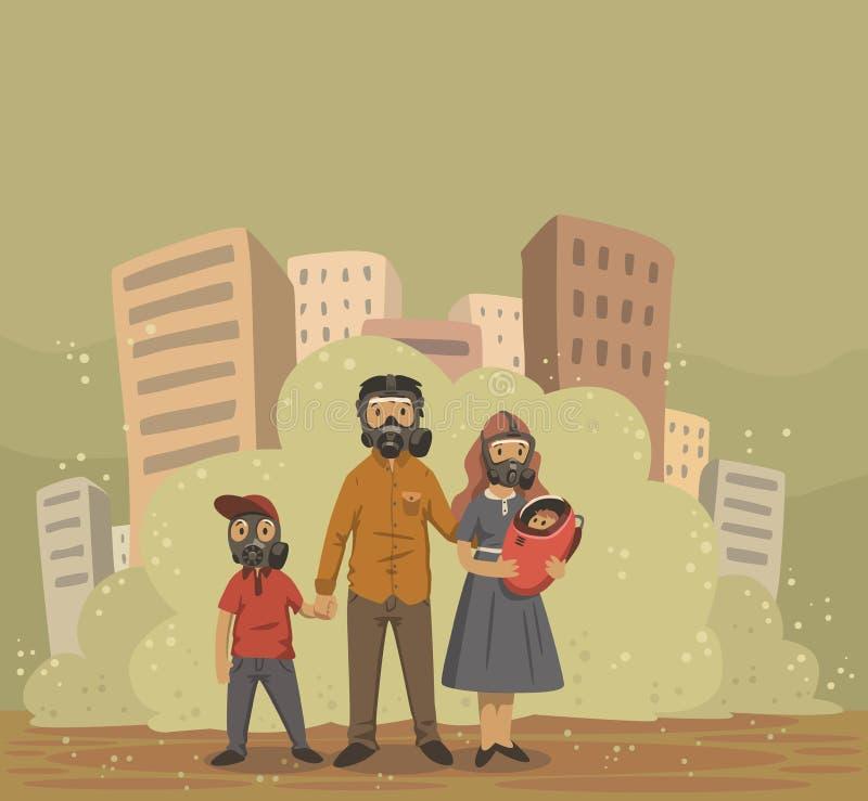 Οικογένεια στις μάσκες αερίου στο υπόβαθρο πόλεων αιθαλομίχλης Περιβαλλοντικά προβλήματα, ατμοσφαιρική ρύπανση Επίπεδη διανυσματι απεικόνιση αποθεμάτων