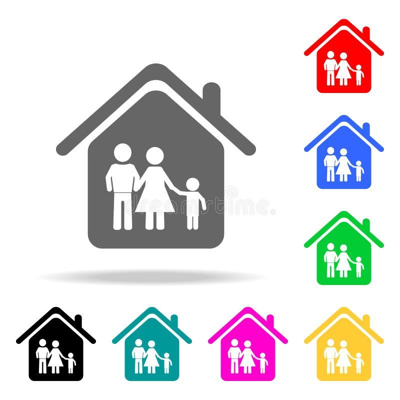οικογένεια στο εικονίδιο σπιτιών Στοιχεία της ακίνητης περιουσίας στα πολυ χρωματισμένα εικονίδια Γραφικό εικονίδιο σχεδίου εξαιρ απεικόνιση αποθεμάτων