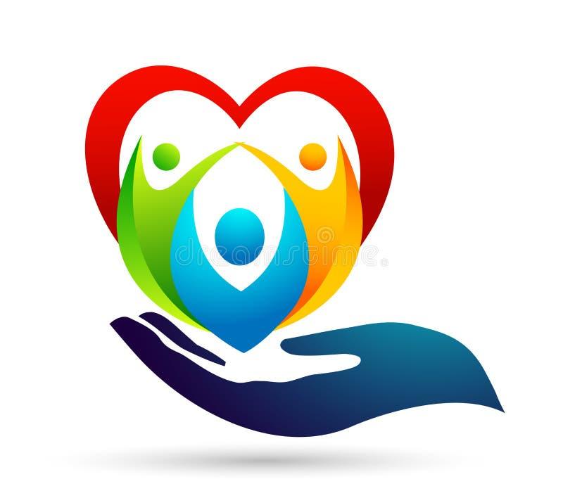 Οικογένεια στο ευτυχές λογότυπο ένωσης καρδιών, οικογένεια, γονέας, παιδιά, χέρι, αγάπη, προσοχή, διάνυσμα σχεδίου εικονιδίων συμ διανυσματική απεικόνιση