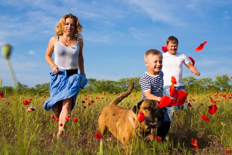 Οικογένεια στο λιβάδι παπαρουνών