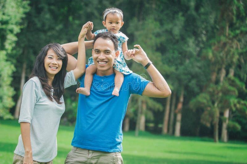 Οικογένεια στο πάρκο πατέρας που δίνει έναν piggy γύρο πίσω στο μωρό του στοκ εικόνες