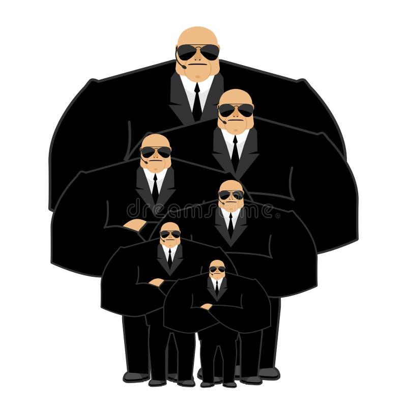 Οικογένεια σωματοφυλακών Μαύρο κοστούμι και με ελεύθερα χέρια Φύλακας Prote διανυσματική απεικόνιση