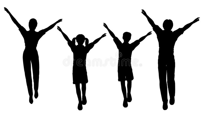 οικογένεια τέσσερα άλμα ελεύθερη απεικόνιση δικαιώματος