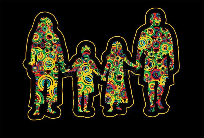 οικογένεια τέχνης λαϊκή απεικόνιση αποθεμάτων