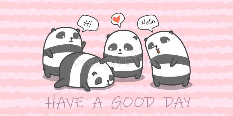 Οικογένεια της Panda στο ύφος κινούμενων σχεδίων ελεύθερη απεικόνιση δικαιώματος