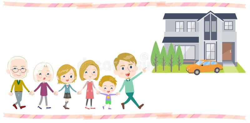 Οικογένεια τρία εκμετάλλευσης χεριών γύρος σπιτιών White_Walking γενεών ελεύθερη απεικόνιση δικαιώματος