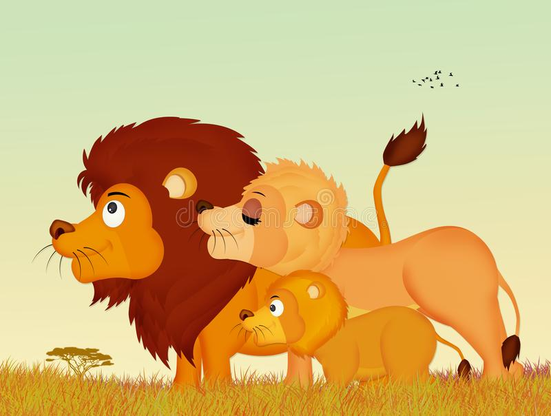 Οικογένεια των λιονταριών απεικόνιση αποθεμάτων