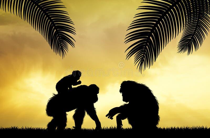 Οικογένεια των πιθήκων στη ζούγκλα διανυσματική απεικόνιση