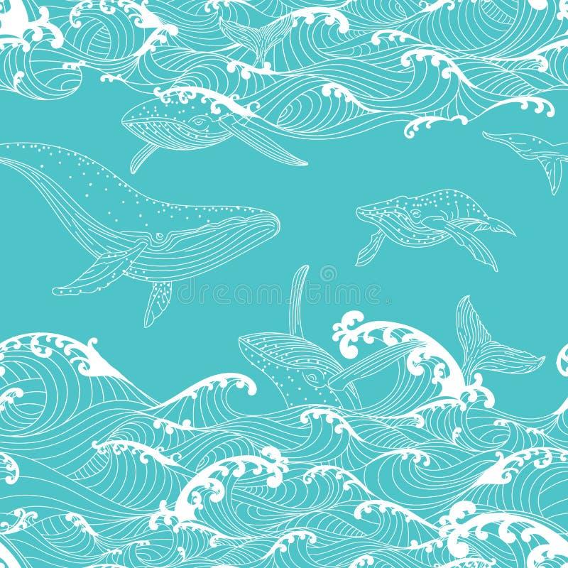 Οικογένεια φαλαινών που κολυμπά στα ωκεάνια κύματα, σχέδιο άνευ ραφής διανυσματική απεικόνιση