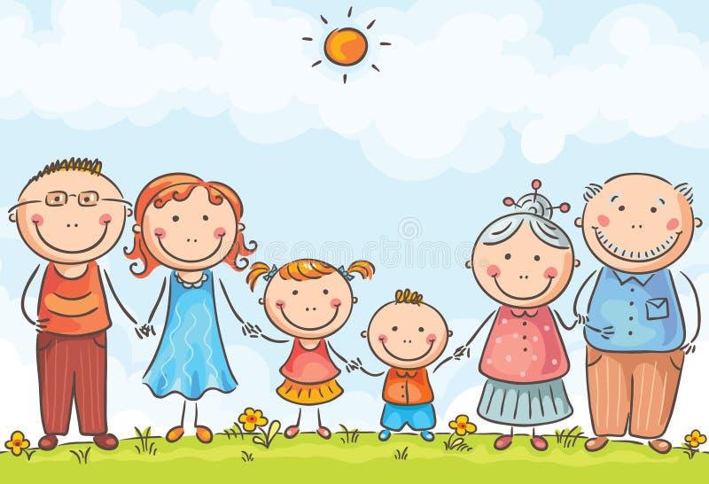 οικογένεια δύο παιδιών διανυσματική απεικόνιση