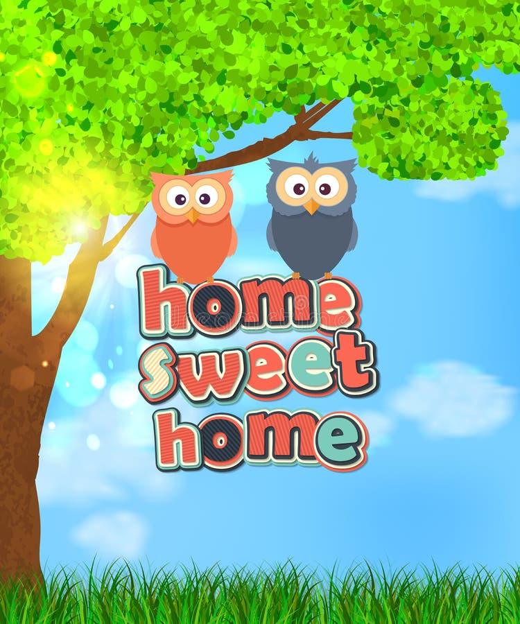Οικογένεια δύο χαριτωμένων κουκουβαγιών με το γλυκό σπίτι κειμένων ελεύθερη απεικόνιση δικαιώματος