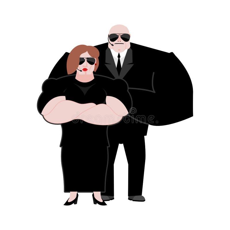 Οικογένεια Marrieds σωματοφυλακών σύζυγος και σύζυγος στο μαύρα κοστούμι και το εκτάριο απεικόνιση αποθεμάτων