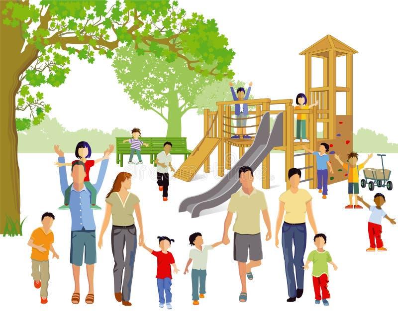 Οικογένειες στην παιδική χαρά διανυσματική απεικόνιση