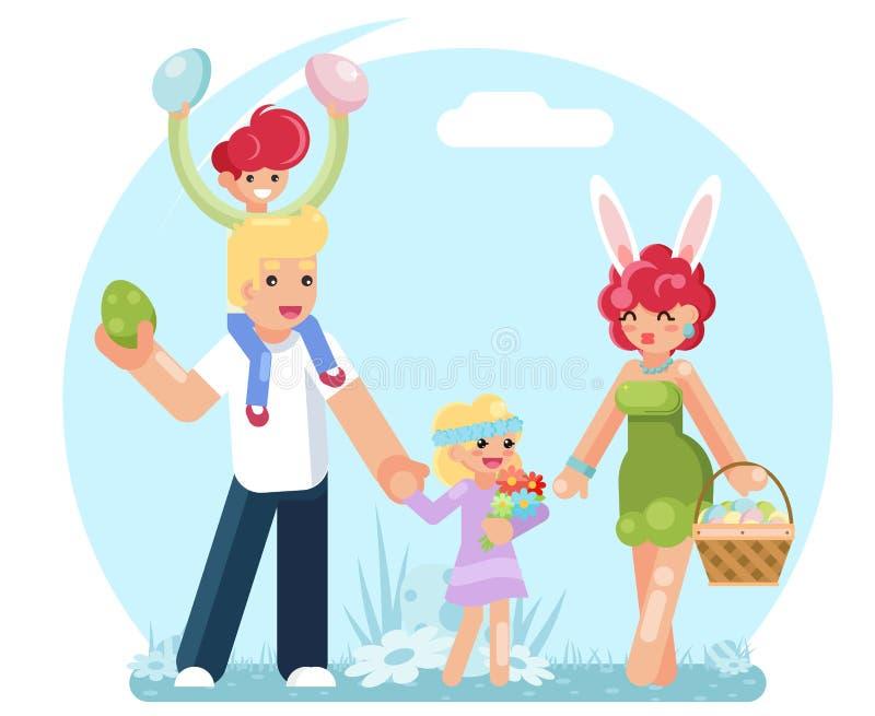 Οικογενειακά αυγά Πάσχας που συλλέγουν βρίσκοντας την έρευνα της επίπεδης διανυσματικής απεικόνισης σχεδίου ελεύθερη απεικόνιση δικαιώματος