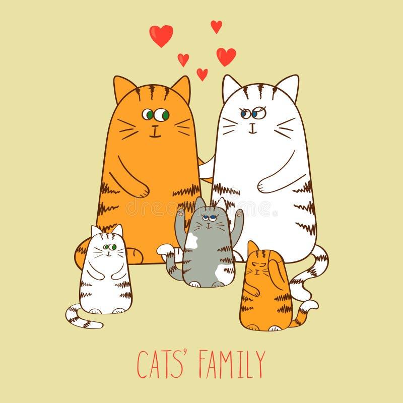 οικογενειακά γατάκια δύο γατών γατών χαριτωμένα γατάκια διανυσματική απεικόνιση