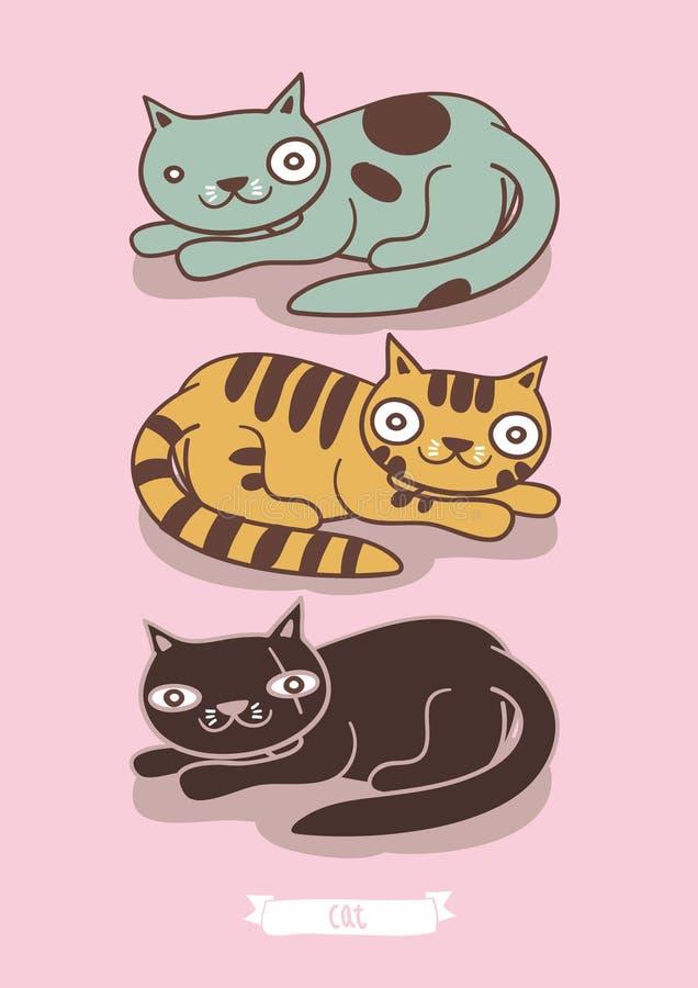 οικογενειακά γατάκια δύο γατών γατών απεικόνιση αποθεμάτων