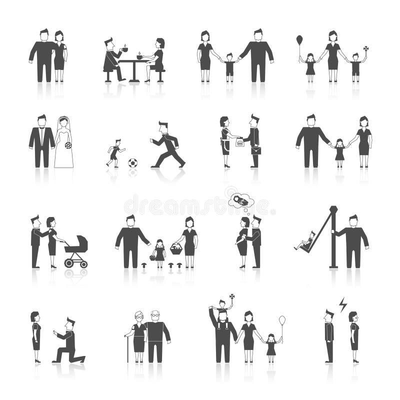 Οικογενειακά εικονίδια καθορισμένα μαύρα ελεύθερη απεικόνιση δικαιώματος