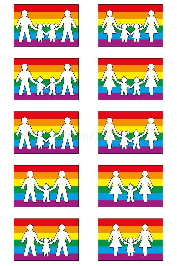 Οικογενειακά εικονίδια LGBT διανυσματική απεικόνιση