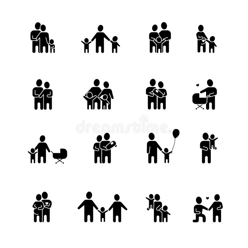 Οικογενειακά μαύρα άσπρα εικονίδια καθορισμένα διανυσματική απεικόνιση