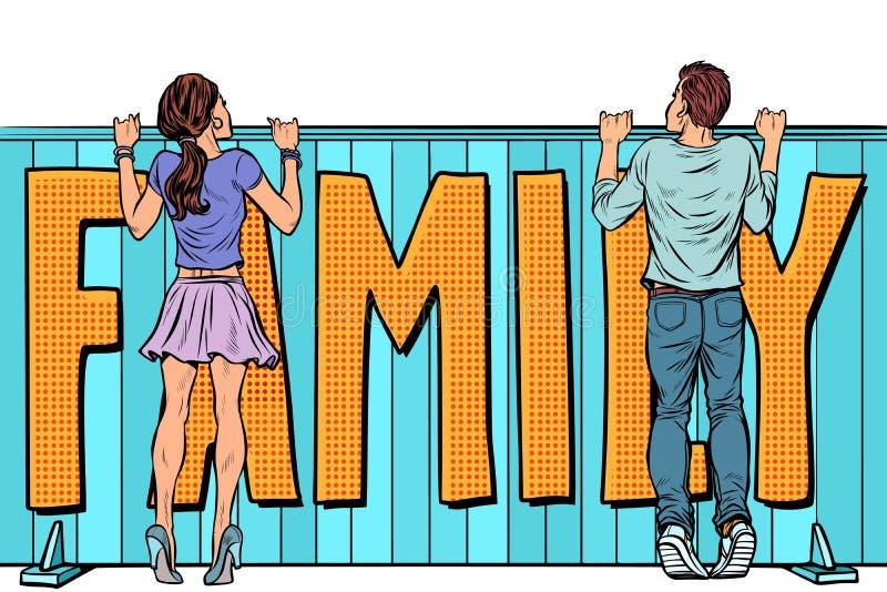 Οικογενειακά σχέδια αγαπώντας νέο κορίτσι νεαρών άνδρων και γυναικών ζευγών ελεύθερη απεικόνιση δικαιώματος