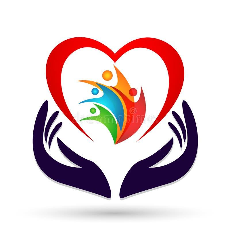Οικογενειακές ένωση, αγάπη και προσοχή σε μια κόκκινη καρδιά με το διανυσματικό στοιχείο εικονιδίων λογότυπων μορφής χεριών και κ απεικόνιση αποθεμάτων