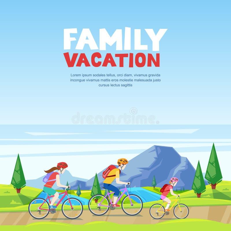 Οικογενειακές διακοπές, ανακύκλωση και υπαίθρια δραστηριότητα Οδηγώντας ποδήλατα Mom, μπαμπάδων και κορών Διανυσματική απεικόνιση απεικόνιση αποθεμάτων