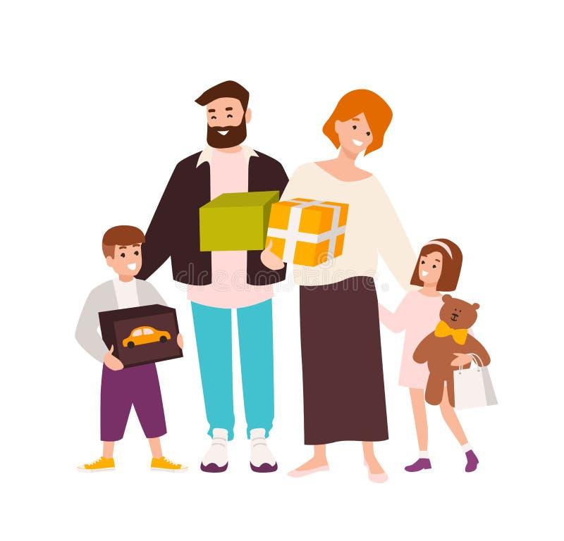 οικογενειακές ευτυχείς αγορές Εύθυμα παιχνίδια εκμετάλλευσης μητέρων, πατέρων, κορών και γιων και κιβώτια δώρων Χαριτωμένοι χαρακ διανυσματική απεικόνιση