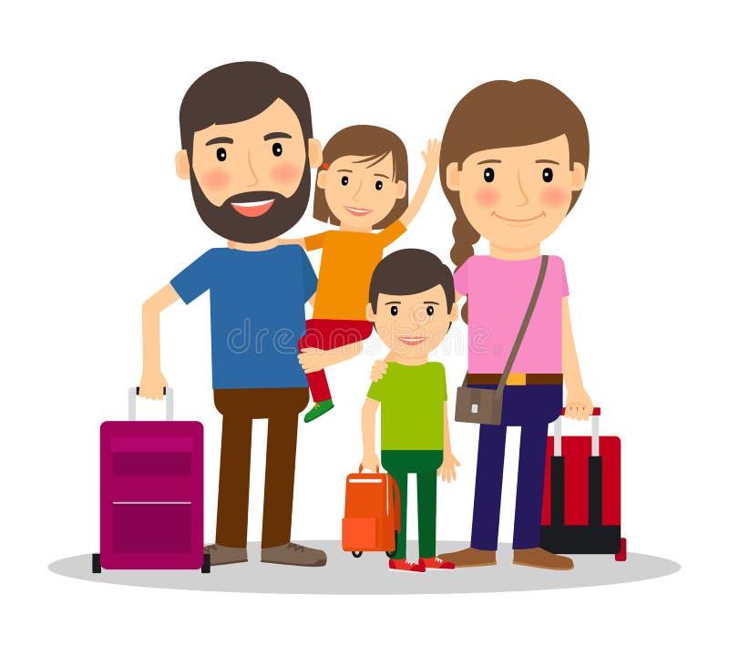 Οικογενειακές διακοπές με τα παιδιά διανυσματική απεικόνιση
