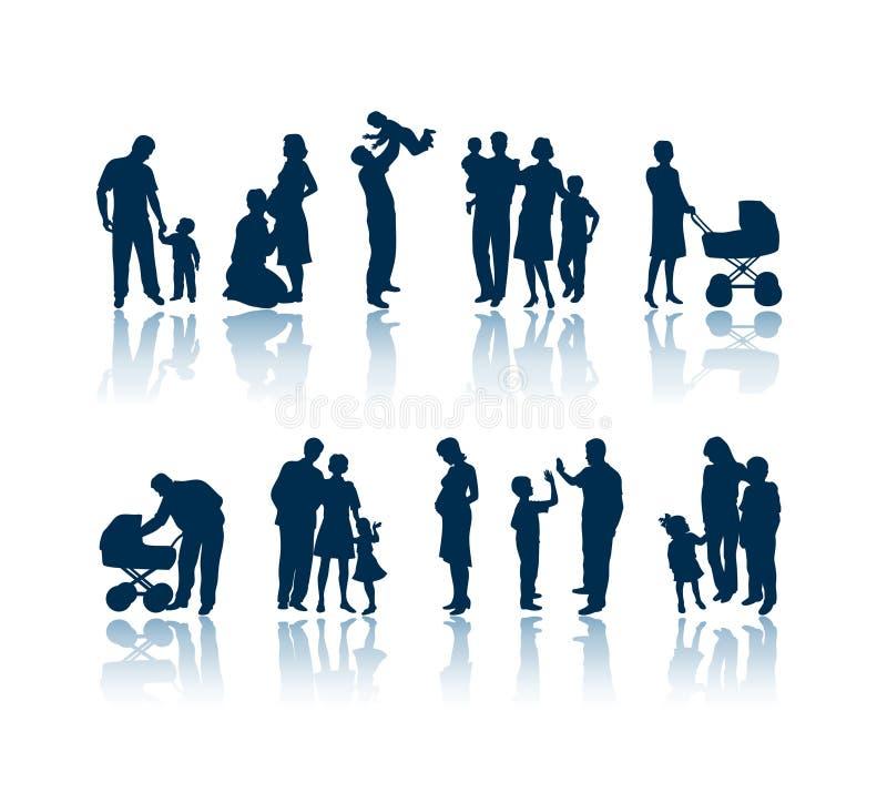 οικογενειακές σκιαγραφίες ελεύθερη απεικόνιση δικαιώματος