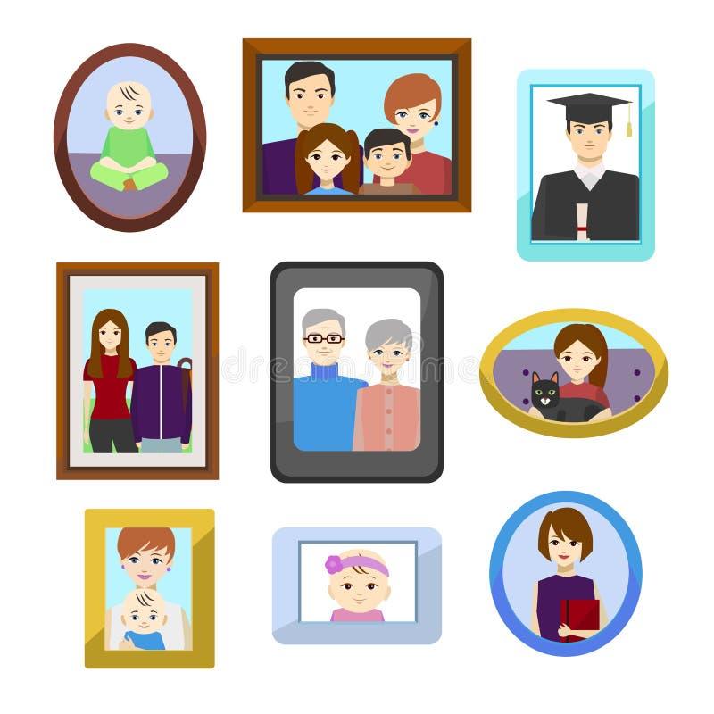 Οικογενειακές φωτογραφίες κινούμενων σχεδίων στα πλαίσια χρώματος καθορισμένα διάνυσμα διανυσματική απεικόνιση