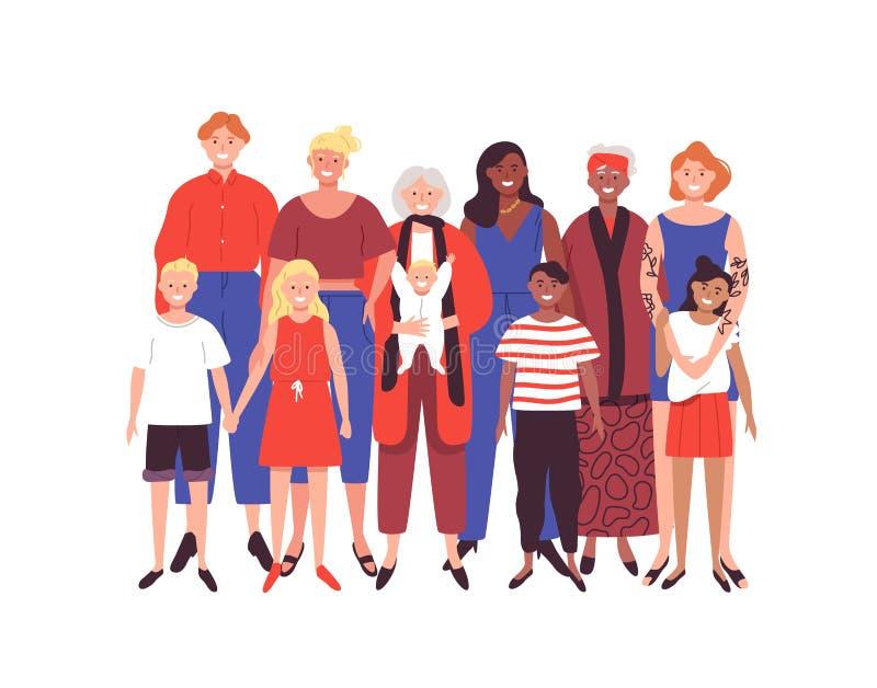 Οικογενειακή έννοια γυναικών στο απομονωμένο υπόβαθρο διανυσματική απεικόνιση