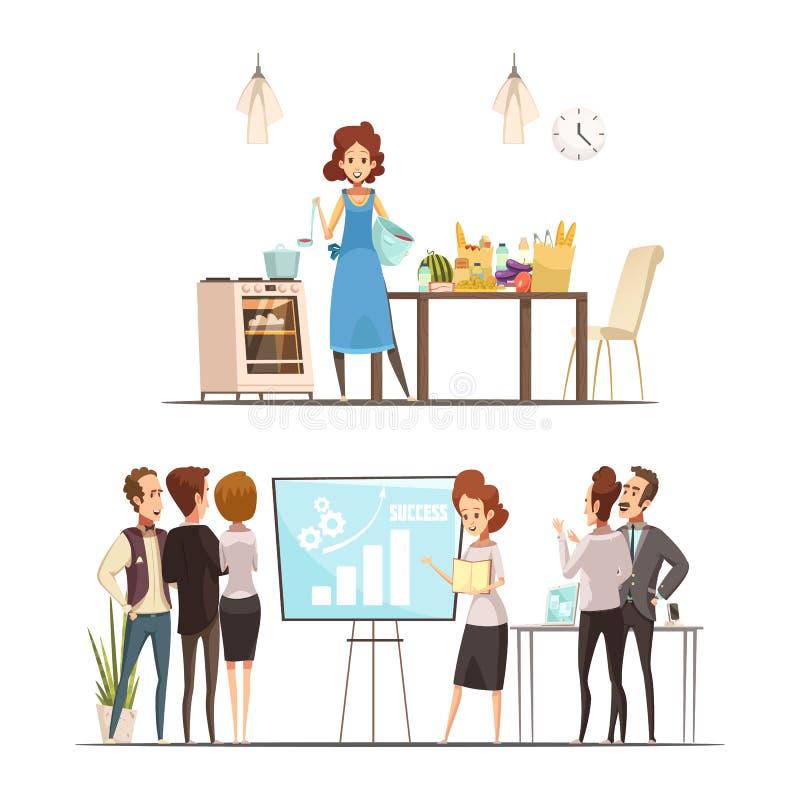 Οικογενειακή έννοια εργασίας κινούμενων σχεδίων μητρότητας ελεύθερη απεικόνιση δικαιώματος