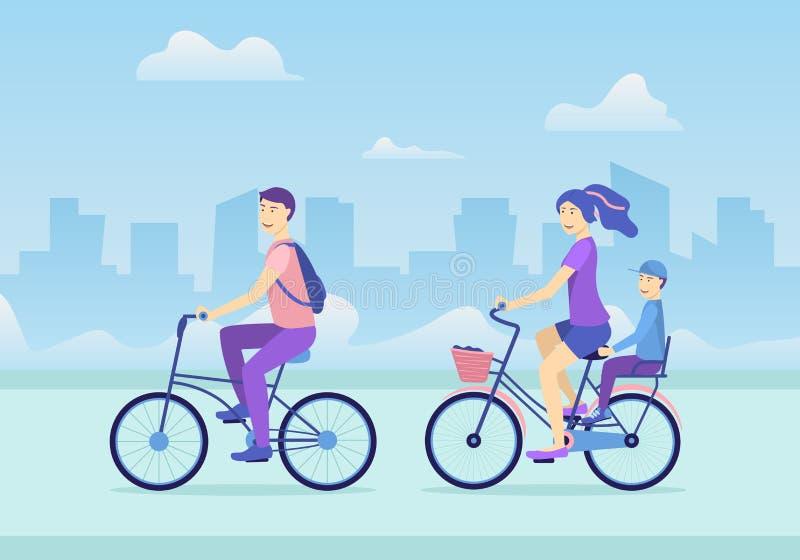 Οικογενειακή έννοια τρόπου ζωής κινούμενων σχεδίων ενεργός σε μια σκηνή υποβάθρου τοπίων πόλεων r απεικόνιση αποθεμάτων