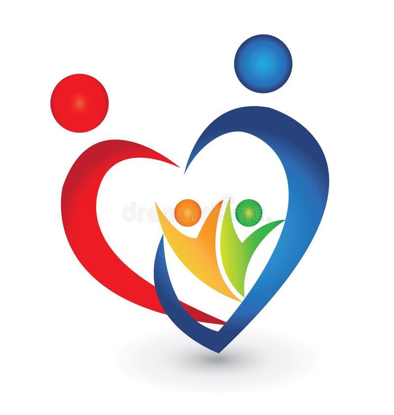 Οικογενειακή ένωση σε μια μορφή καρδιών ελεύθερη απεικόνιση δικαιώματος