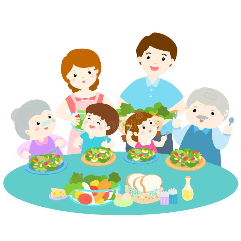 Οικογενειακή αγάπη που τρώει τη φρέσκια veggetable απεικόνιση διανυσματική απεικόνιση