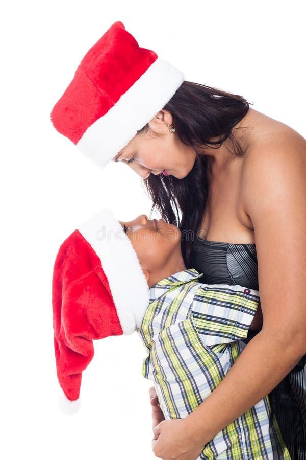 Οικογενειακή αγάπη Χριστουγέννων στοκ εικόνες