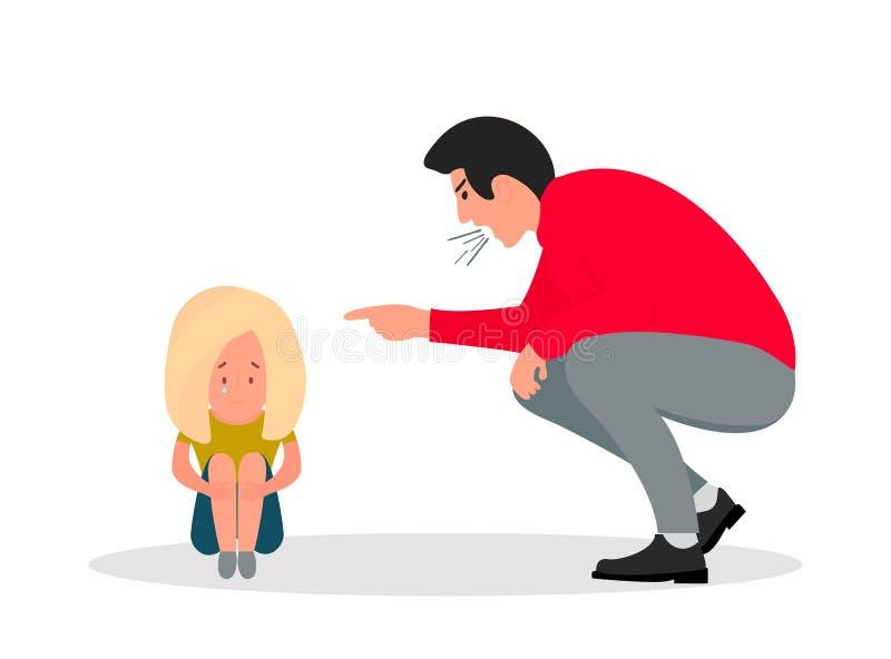 Οικογενειακή βία κραυγές ατόμων στη φοβησμένη κόρηες Μικρό κορίτσι που φωνάζει καλύπτοντας το πρόσωπό της απεικόνιση αποθεμάτων