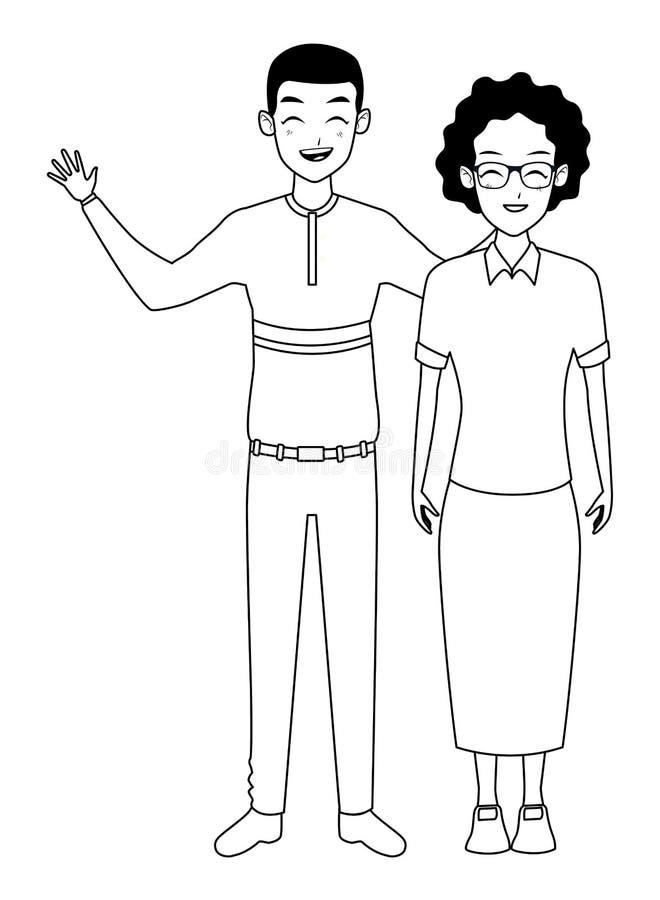 Οικογενειακή γιαγιά με τα ενήλικα κινούμενα σχέδια γιων σε γραπτό διανυσματική απεικόνιση