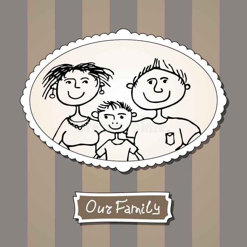 Οικογενειακή εικόνα με τους προγόνους και το γιο διανυσματική απεικόνιση