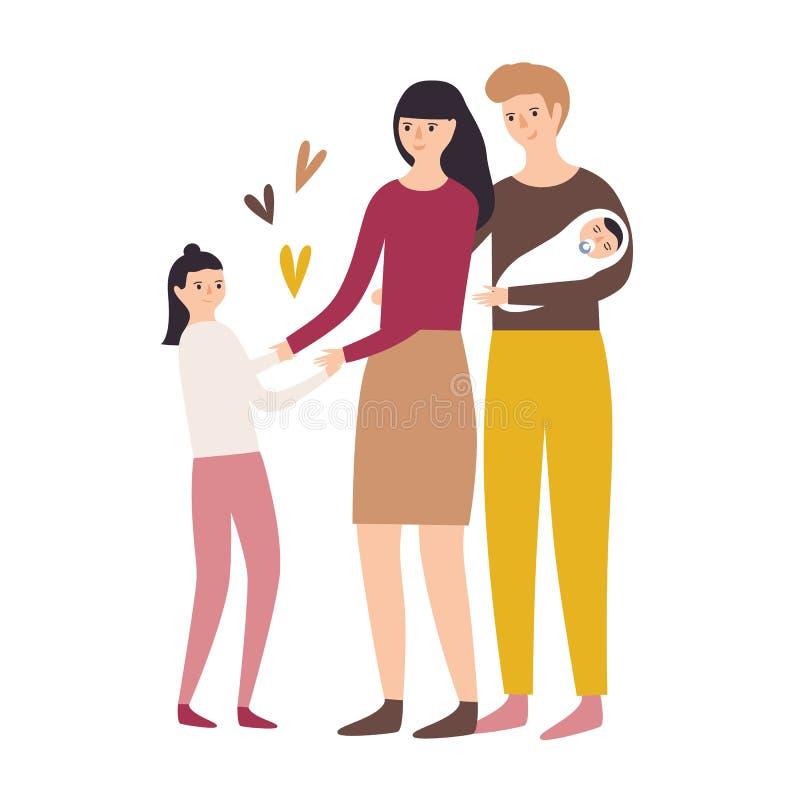 οικογενειακή ευτυχής & Μητέρα, πατέρας, κόρη και νεογέννητο παιδί ή νήπιο που απομονώνονται στο άσπρο υπόβαθρο Αστείο επίπεδο ελεύθερη απεικόνιση δικαιώματος