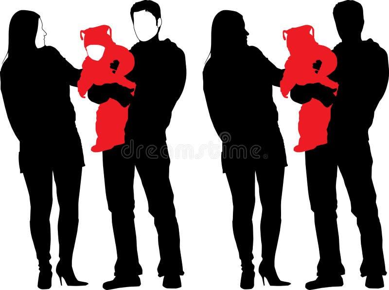 οικογενειακή ευτυχής νέα σκιαγραφία απεικόνιση αποθεμάτων