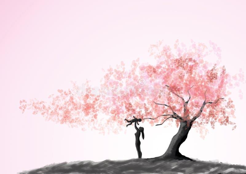 οικογενειακή ευτυχής & Παιχνίδι μητέρων και παιδιών κάτω από το δέντρο αγάπης απεικόνιση αποθεμάτων