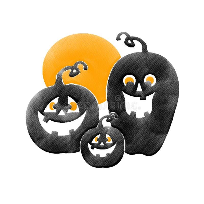 Οικογενειακή μαύρη κολοκύθα αποκριών και πορτοκαλί φεγγάρι, εικόνα ζωγραφικής υδατοχρώματος στοκ εικόνες