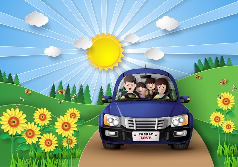Οικογενειακή οδήγηση στο αυτοκίνητο διανυσματική απεικόνιση